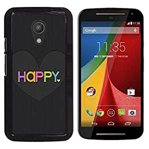PC/Aluminum Funda Carcasa protectora para Motorola MOTO G 2ND GEN II Love Heart Black Brushed Colorful / JUSTGO PHONE PROTECTOR