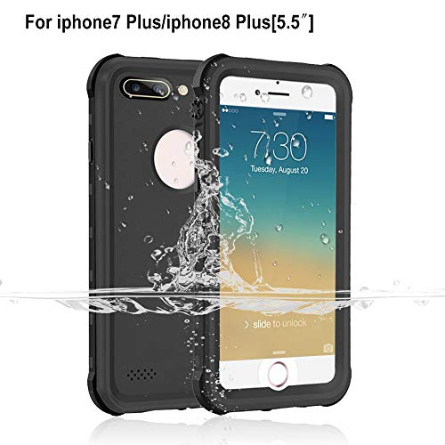 iPhone 7 Plus / 8 Plus Waterproof Case [5.5 inch], Garcoo IP68 Certified Fully Sealed Underwater Protective Cover, Shockproof Dustproof and Snowproof, Suitable for Outdoor Sports (Black)