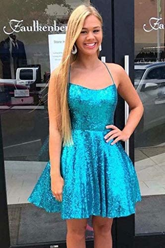 Annabride Women's Short Sequins Homecoming Prom Dress with Pockets Sparkly Formal Party Gown Party Gown Mint 24W