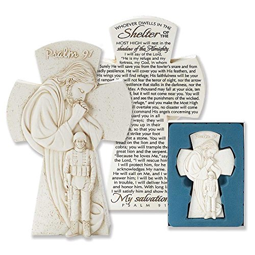 Dicksons Praying Jesus Over Soldier 7.5 inch Resin Stone Table Top Cross Figurine