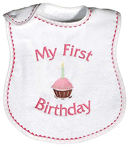 Raindrops My First Birthday Embroidered Bib, Strawberry/Hot Pink 1st Birthday Girl Bib