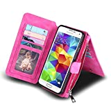Galaxy S5 Case, Coolden Multifunctional Galaxy S5 Wallet Case Folio Flip Magnetic Detachable Cover with Built-in Card Slot/Holder and Kickstand Feature for Galaxy S5 - Rose