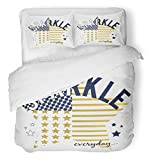 Emvency 3 Piece Duvet Cover Set Breathable Brushed Microfiber Fabric Girl Sparkle Slogan and Star Graphic Tee Princess Little Cute Baby Beautiful Bedding Set with 2 Pillow Covers Twin Size