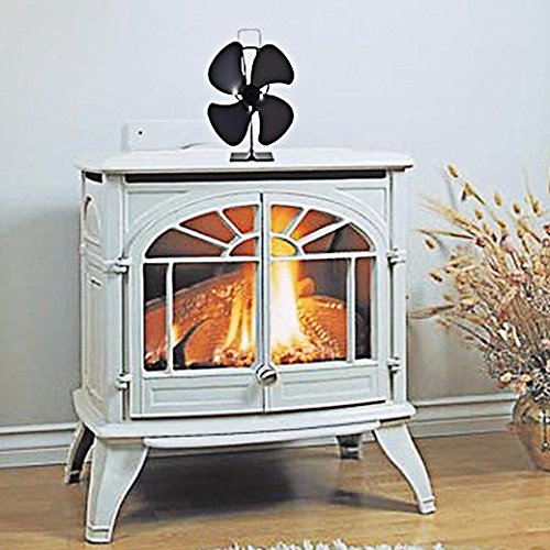signstek 4 blade heat powered stove fan for wood log coal. Black Bedroom Furniture Sets. Home Design Ideas