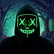 HITOP Led Purge Mask Scary Halloween Light up Glowing Mask Gift for Kids Adults Festival Party