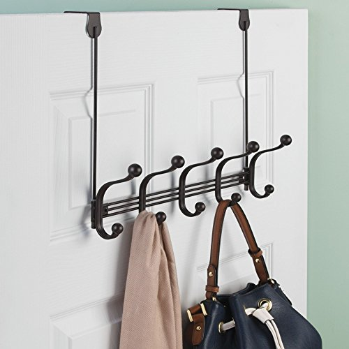 "InterDesign York Metal 5-Hook Over-the-Door or Wall Mount Rack for Coats, Hats, Scarves, Towels, Robes, Jackets, Purses, 15.62"" x 5.35"