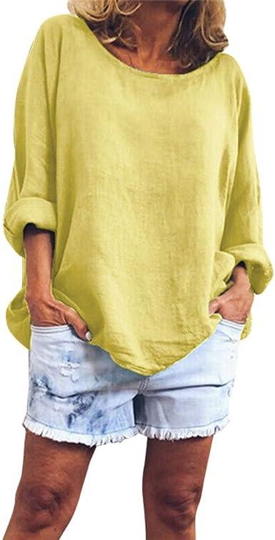 COZOCO Camiseta Holgada De Cuello Redondo De Moda para Mujer ...