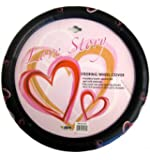Simulated Leather Steering Wheel Cover - Multicolor Opt Art Love Hearts