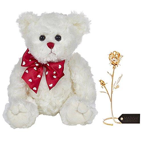 "ower Ornament"" Dipped in 24K Gold   Bearington Lil' Lovable Plush Stuffed Animal Teddy Bear- 11"