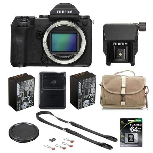 Fujifilm GFX 50S 51.4MP Medium Format Mirrorless Camera with Electronic Viewfinder - Bundle with EVF-TL1 Tilt Adapter, 64GB U3 SDXC Memory Card, Fuji NP-T125 Battery, Camera Bag, Peak Leash Strap
