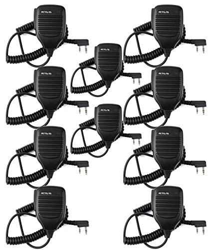 Retevis 2 Pin Speaker Mic Compatible with Baofeng UV-5R BF-888S BF-F8HP Kenwood Retevis H-777 RT21 RT22 RT27 H-777S Walkie Talkies (10 Pack) by Retevis