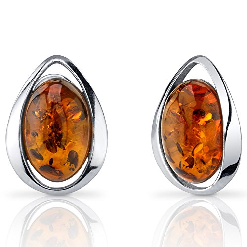 Baltic Amber Stud Earrings Sterling Silver Cognac Color Oval Shape