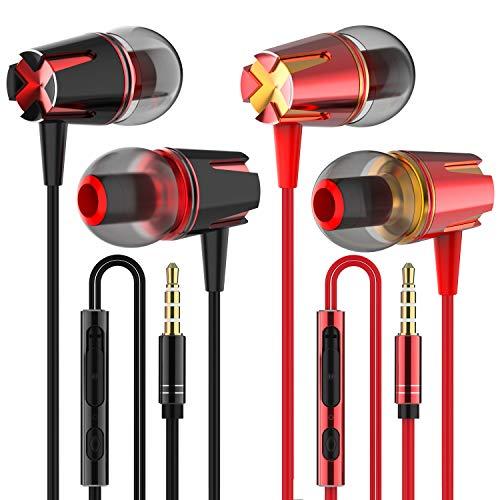 Earbuds, in-Ear Headphones Earphones with 3.5mm Jack Heavy bass Earphone Call with Mic Stereo Earbud Metal Headphones YENIE (Red and Black 2 Pairs)