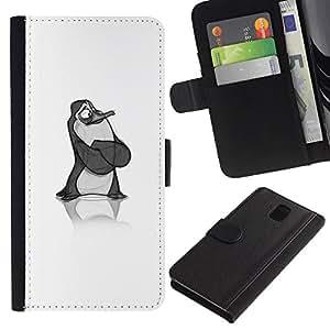 APlus Cases // Samsung Galaxy Note 3 III N9000 N9002 N9005 // Dibujos animados pingüino bosquejo arte los hijos de // Cuero PU Delgado caso Billetera cubierta Shell Armor Funda Case Cover Wallet Credit Card