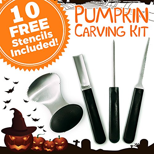 Pumpkins Carving Patterns (Pumpkin Carving Kit - 4-Piece Reusable Stainless Steel Tools Set with 10 Halloween Carving Pattern)