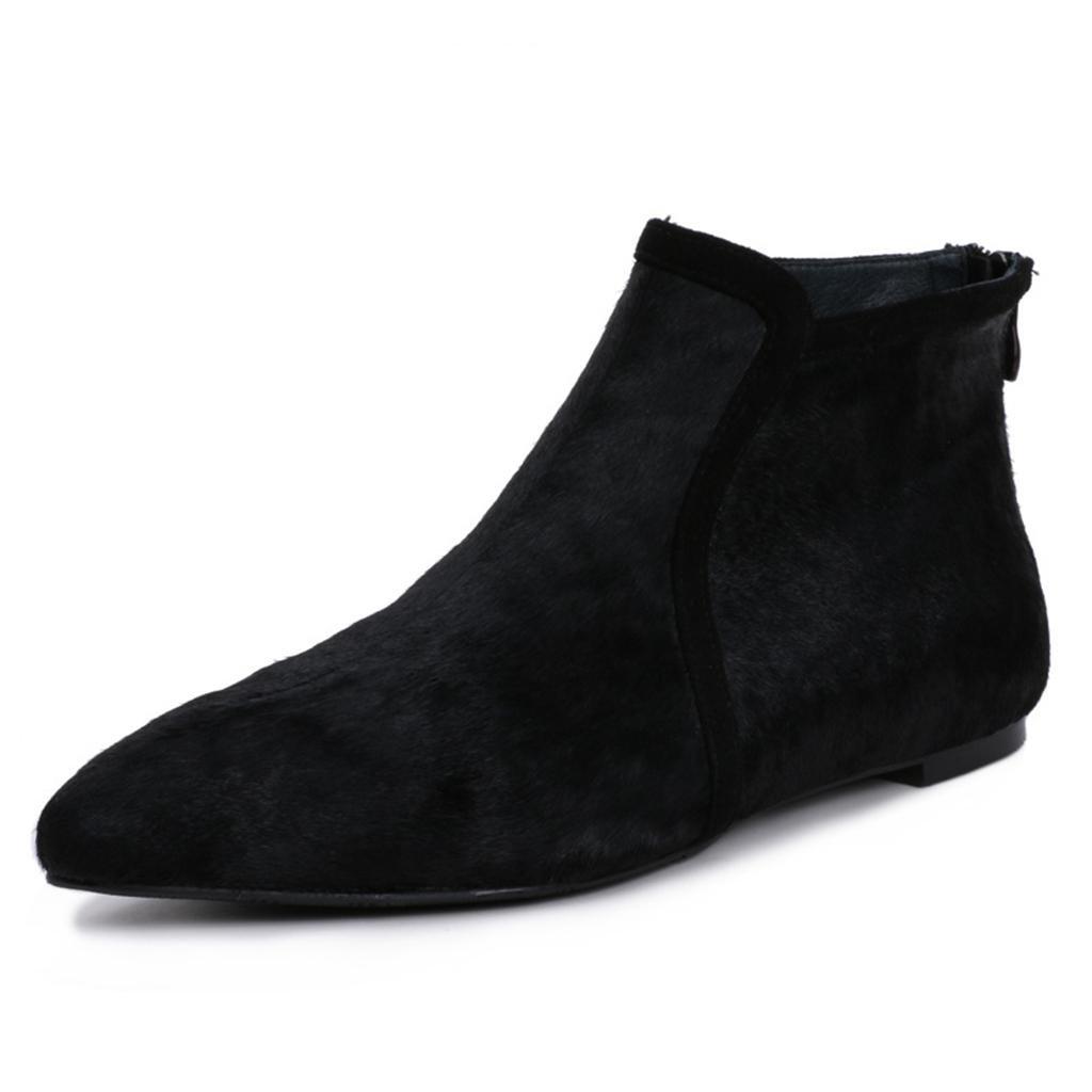 De las mujeres plano Botas femeninas Señoras Cachemira Piso con Puntiagudo Botas Botas planas de tobillo para damas , black , 38 BLACK-38