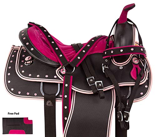 ME Enterprises Synthetic Western Adult Horse Saddle Tack Barrel Racing, Get Matching Headstall, Breast Collar & Saddle Pad Size 14