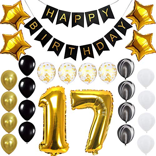 Happy 17th Birthday Banner Balloons Set For 17 Years Old Party Decoration Supplies Gold Black