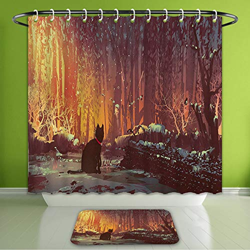 - Waterproof Shower Curtain and Bath Rug Set Fantasy Art Decor Surreal Lost Black Cat Deep Dark in Forest with Mystic Lights Picture Orange Bath Curtain and Doormat Suit for Bathroom 72