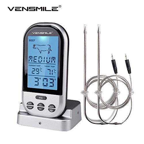 VENSMILE Wireless Meat Thermometer 160 Feet Range Digital Food Thermometer BBQ Grill Smoker Oven Cooking Thermometer with Timer 2 Stainless Steel Probes Good Gifts to Friends
