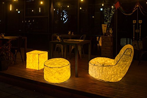 Bean Bag Footstool (Lazybag DIY LED Inflatable Foot Stool Bean Bag Chair USB Night Light Sofa for Christmas Decorations Party Outdoor Garden Bar Living Room, L17.7xW17.7xH17.7 Inch)