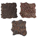IndianShelf Handmade Set of 3 Piece Brown Wooden Stamp Paper Printing Textile Canvas Fabric Block
