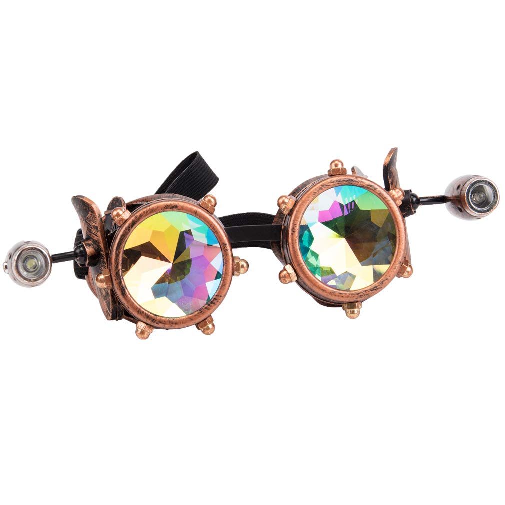 Barbed Wire Led Light Steampunk Goggles Vintage Cosplay Kaleidoscope Rave Glasses MG023SI-CN-LXW333