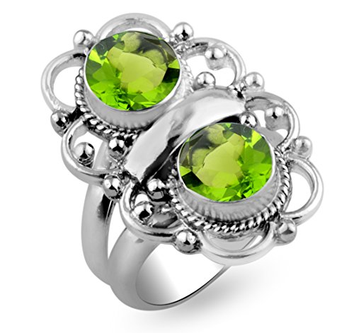 Sterling Silver Jewelry 3.50ctw, Peridot Quartz 8x8mm Round & .925 Silver Plated Handmade Fashion Rings - Sterling 8mm Peridot Plated