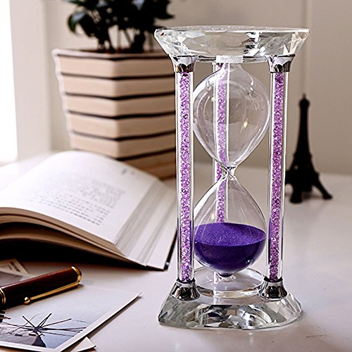 BORWAY 60 Minute Hourglass Timer, Heart Shaped Sands Timer with Sparkling Pillars, Eye-Catchy Purple Sands Clock for Home Kitchen Office Décor Christmas Gift (60 Min, Purple, 1 Pack)