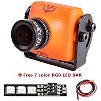 Weyland RunCam Swift 2 600TVL FPV Camera Mini 2.3mm for Quad Flying Drones150 Degree OSD WDR DC 5-36V NTSC Integrated MIC for Multicopter Orange With 1 PCS RGB LED BAR