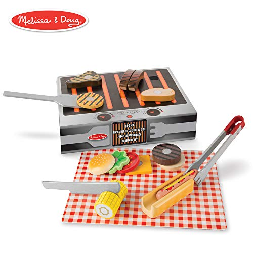Melissa & Doug Wooden Grill & Serve BBQ Set (Wooden Play Food, 20 Pieces)
