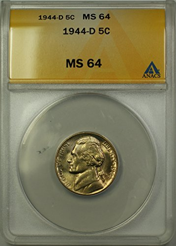 Ms64 Light (1944 D Jefferson Wartime Silver 5c Coin (RL-B) Light Toning Nickel MS-64 ANACS)