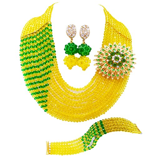 Yellow Jewelry Beaded Set (aczuv 10 Rows Fashion African Wedding Beads Nigerian Beaded Jewelry Set Bridal Party Jewelry Sets (Yellow and Green))
