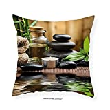 VROSELV Custom Cotton Linen Pillowcase Spa Decor Asian Zen Massage Stone Triplets with Herbal Oil and Scent Candles for Bedroom Living Room Dorm Sand Brown Green 22''x22''