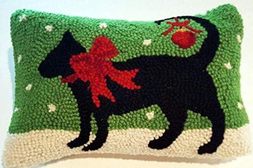 Peking Handicraft Red Ribbon Walking Christmas Black Cat Mini Hooked Wool Pillow 8 x 12