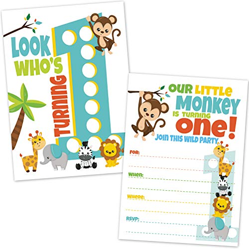 Safari Jungle Zoo Animals First Birthday Invitations - Jungle Theme 1st Birthday Invites (20 Count with -