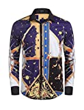 COOFANDY Mens Long Sleeve Luxury Design Print Dress Shirt Casual Button Down Shirt For Party,Wedding,Banquet,Prom,Nightclub,Navy Blue,Medium