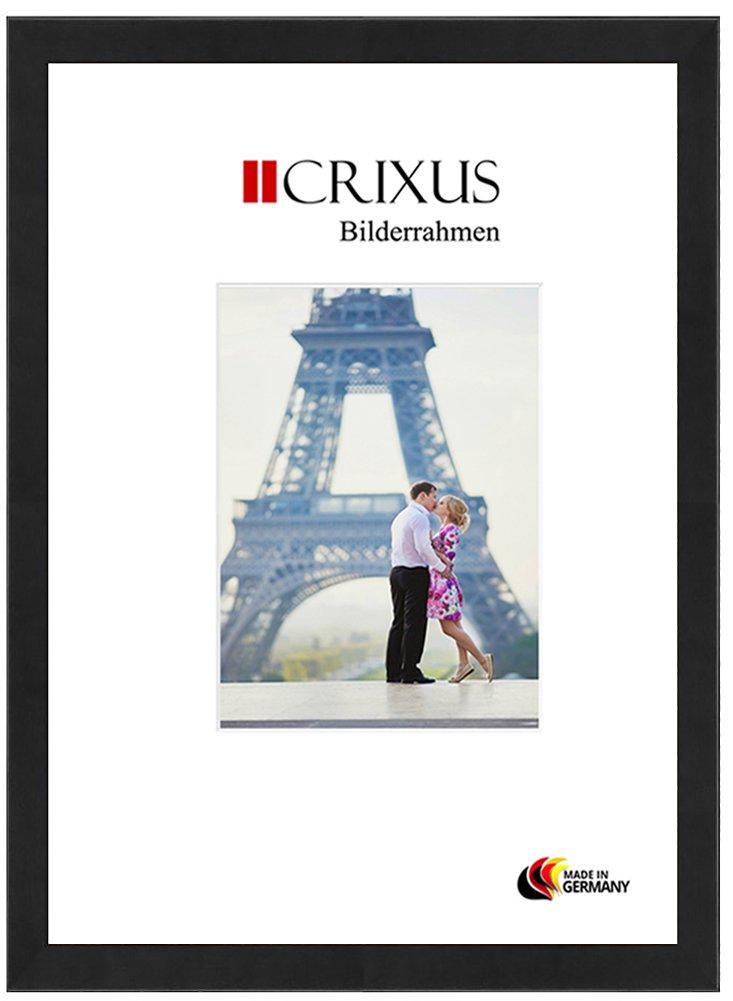 Crixus40 Echtholz Bilderrahmen für 100 x 140 cm Bilder, Farbe  Schwarz Matt, Massivholz Rahmen in Maßanfertigung mit Acryl Kunstglas (Bruchsicher) und MDF Rückwand, Rahmen Breite  40 mm, Aussenmaß  106,9 x 146,9 cm