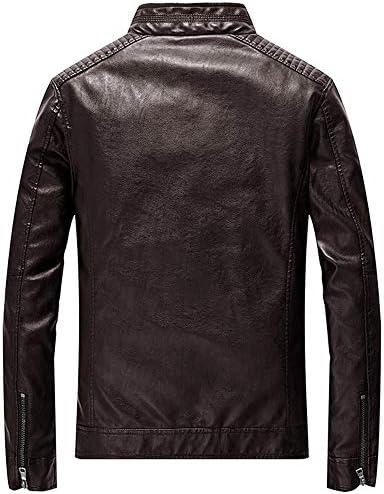 フェイクレザー ジャケット メンズ ライダース バイク用 ジャンパー スリム 革ジャン 立ち襟 シングル 薄手 春秋冬