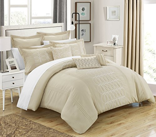 Chic Home 8 Piece Moderna New Linen Fabric Collection Oversized & Overfilled Embroidered Geometric Pleated Ruffled Comforter Set, Queen, Beige