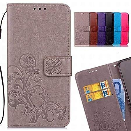 LEMORRY Huawei P20 Pro Custodia Pelle Cuoio Flip Portafoglio Borsa Sottile Bumper Protettivo Magnetico Morbido Silicone TPU Custodia Cover per Huawei P20 Pro, Fortunato Trifoglio (Grigio) lmyeu962
