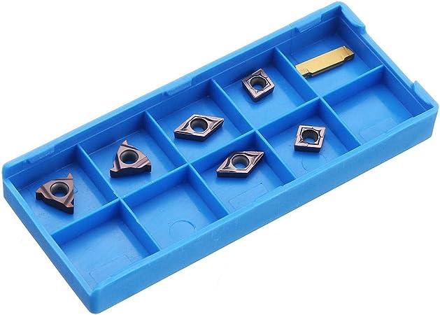 7Pcs 10mm Shank Lathe Turning Tool Holder Boring Bar 7Pcs Carbide Inserts Kit