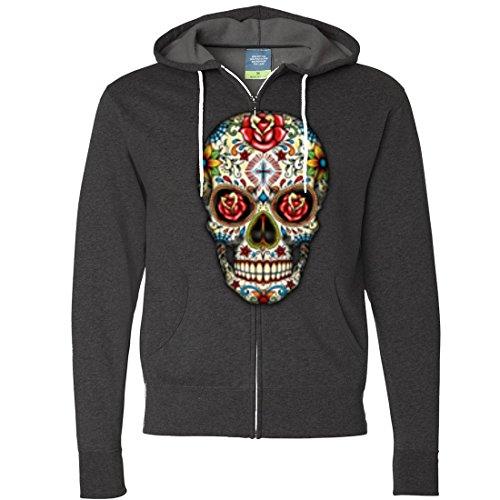 (Dia De Los Muertos Sugar Skull Zip-Up Hoodie - Charcoal Heather)