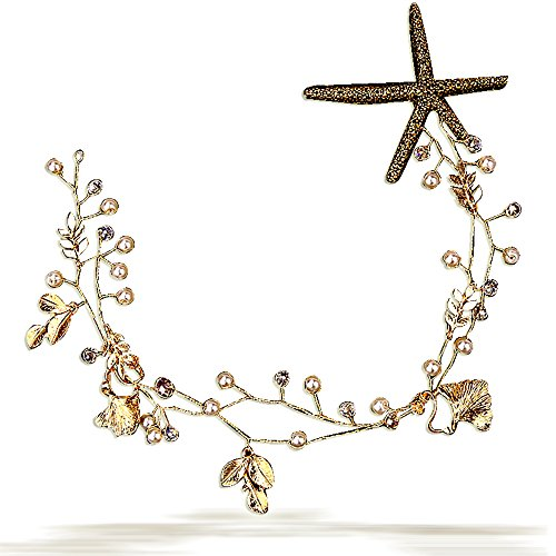 Edith qi Retro Beach Starfish Star Hairband Wedding Tiara Party Princess Headband