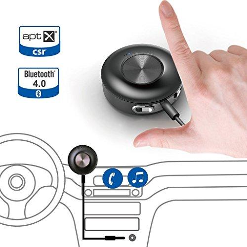 Avantree Auto Bluetooth 4.0 Empfänger mit AUX Ausgang, AptX Freisprechanlage Auto Set für Anrufe und Musik, unterstützt 2 Telefone Sprachsteuerung, Unterstützt iPhone Samsung und alle Bluetooth fähigen Handys - Cara II