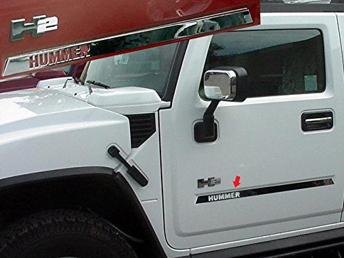 QAA FITS H2 2003-2009 HUMMER (4 Pc: Stainless Steel Side Molding Insert Trim with HUMMER logo cut out, SUV) HV43025