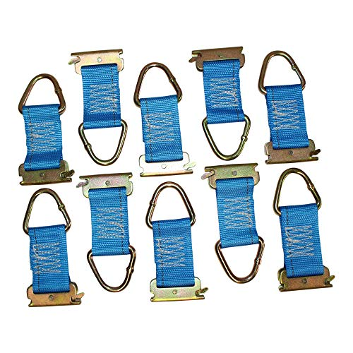 E-Track Rope Tie Off - SGT KNOTS - E Track Cargo Strap Tie Downs - ETrack Accessories for Cargo Tiedown Rail Mounts - Load Securement in Flat Bed Trucks, Vans, and Trailers (6 in - 10 Pack - Blue) ()