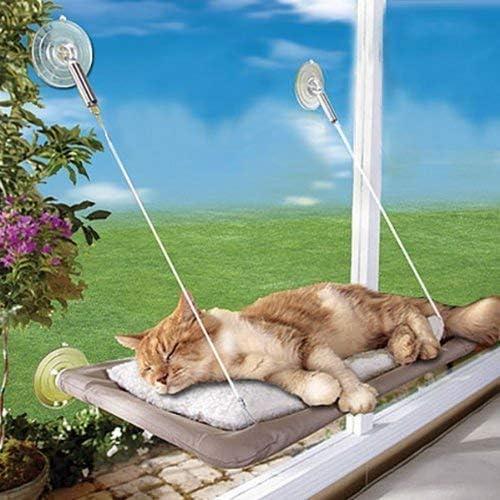 PETPAWJOY Cama para gatos, percha para ventana de gato Asiento de ventana Ventosas Hamaca para gato que ahorra espacio Asiento para descanso de mascotas Estantes para gatos de seguridad - Proporciona un baño de sol de 360 ° para gatos con un peso de hasta 30 lb, bronceado 3
