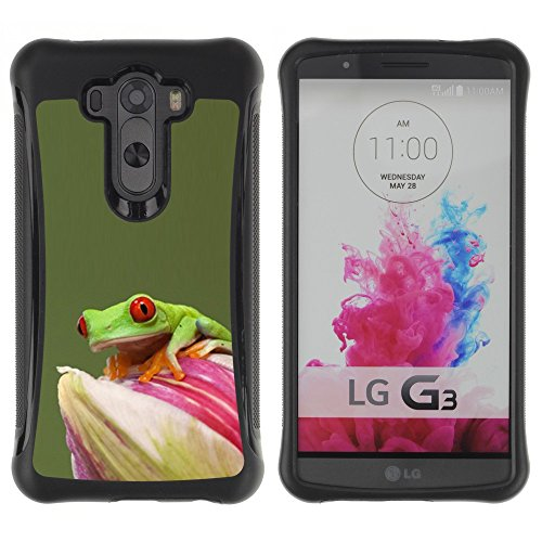 All-Round Hybrid Rubber Case Hard Cover Protective Accessory Compatible with LG G3 2014 Smart Phone - flower green pastel animal rainforest