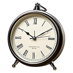 Silent Small Desk Clock Analog,Non Ticking Vintage Decorative Table Alarm Clock Battery Operated,Easy to Read Large Display for Bedroom (Roman Style)